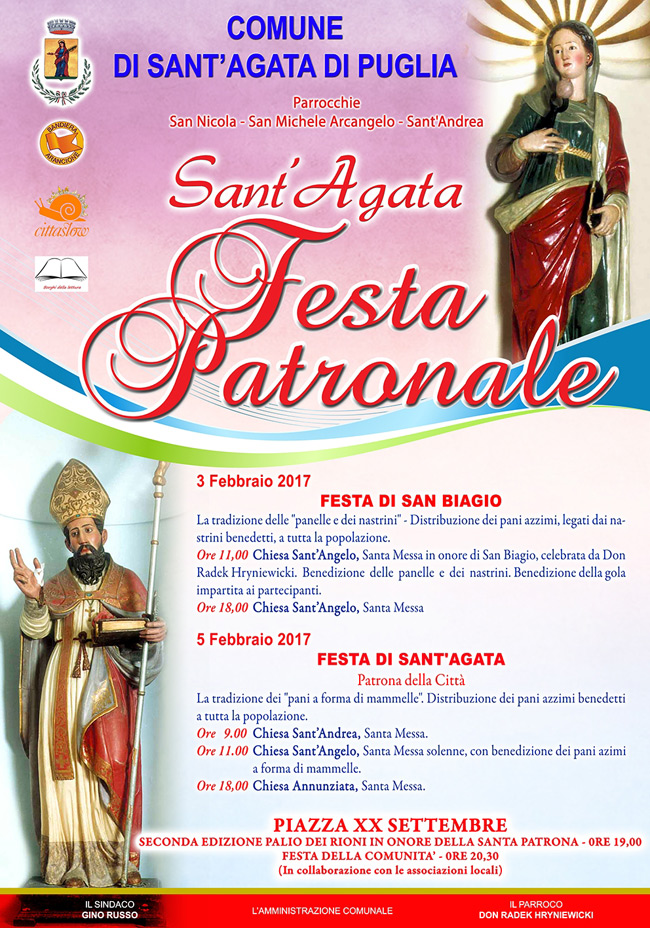 Calendario Feste Patronali Puglia.Comune Di Sant Agata Di Puglia La Loggia Delle Puglie